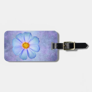Teal Blue and Violet Daisy on Purple Watercolor Luggage Tag