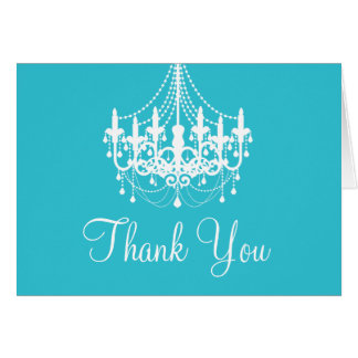 Teal Blue and White Chandelier Thank You Note Card