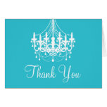 Teal Blue and White Chandelier Thank You Note Note Card