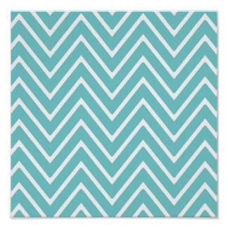 Teal Blue and White Chevron Pattern 2 Poster