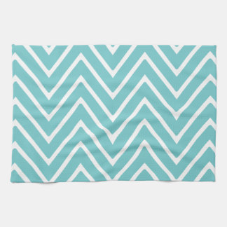 Teal Blue and White Chevron Pattern 2 Tea Towel