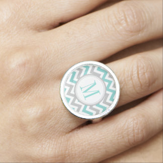 Teal Blue and White Chevron pattern with monogram Photo Ring