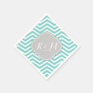 Teal Blue and White Chevron with Monogram Disposable Serviettes