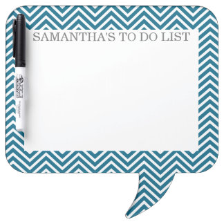 Teal Blue and White Chevrons with Custom Name Dry-Erase Whiteboard