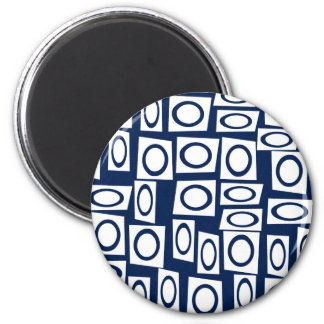Teal Blue and White Fun Circle Square Pattern 6 Cm Round Magnet