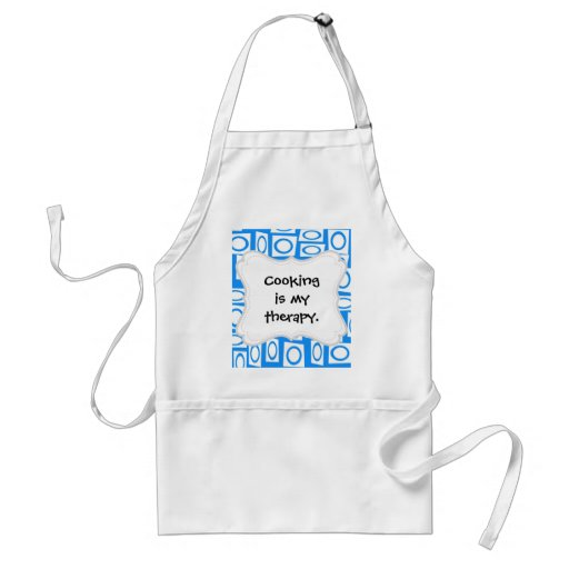 Teal Blue and White Fun Circle Square Pattern Apron