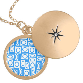 Teal Blue and White Fun Circle Square Pattern Necklaces