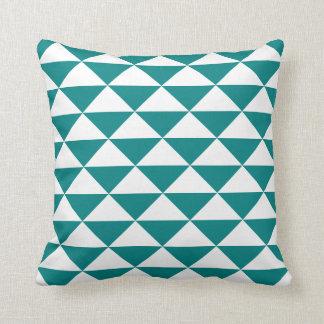 Teal Blue and White Geometric Triangular Pattern Cushion