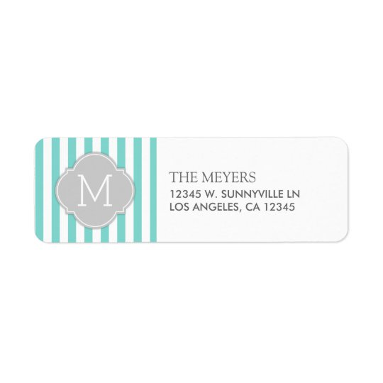 Teal Blue and White Modern Stripes with Monogram
