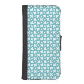 Teal Blue and White Pinwheel Pattern Phone Wallet