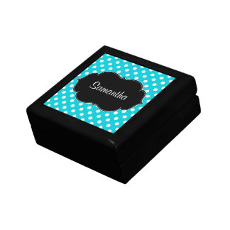 Teal Blue and White Polka Dot Personalized Gift Box