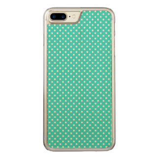 Teal Blue and White Polka Dots Pattern Carved iPhone 8 Plus/7 Plus Case