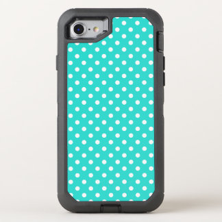 Teal Blue and White Polka Dots Pattern OtterBox Defender iPhone 7 Case
