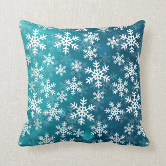 Teal Blue and White Snowflakes Cushion