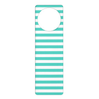 Teal Blue and White Stripe Pattern Door Knob Hangers