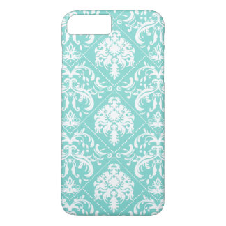 Teal Blue and white vintage damask iPhone 7 Plus Case