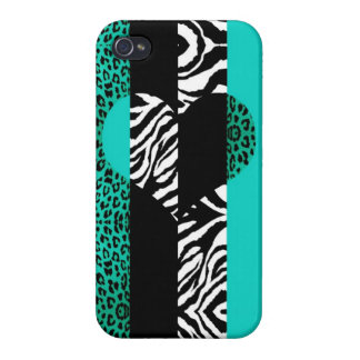 Teal Blue and Zebra Animal Print Heart iPhone 4 Case