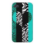 Teal Blue and Zebra Animal Print Heart iPhone 4 Cases