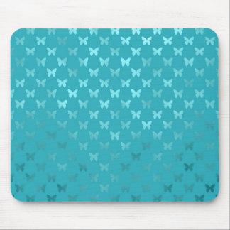 Teal Blue Aqua Butterfly Metallic Faux Foil Mouse Pad