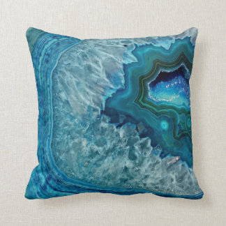 Teal Blue Aqua Turquoise Geode Crystals Pattern Cushion