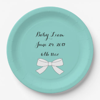 Teal Blue Baby Shower Personalize Party Plates