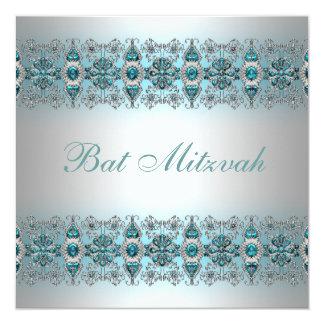 Teal Blue Bat Mitzvah 13 Cm X 13 Cm Square Invitation Card