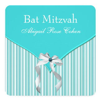 Teal Blue Bat Mitzvah Personalized Announcement