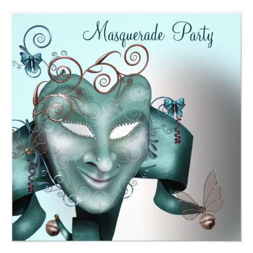 Teal Blue Birthday Masquerade Party Invite
