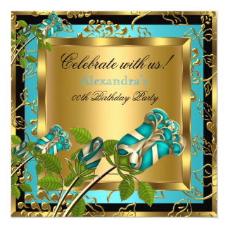 Teal Blue Birthday Party Gold Floral Black Rose Card