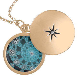 Teal Blue Black and White Fractal Circle Twirl Necklace
