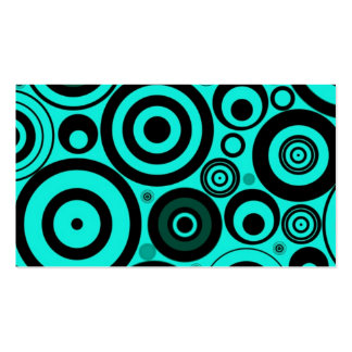 Teal Blue Black Bright Retro Circles Pattern Pack Of Standard Business Cards