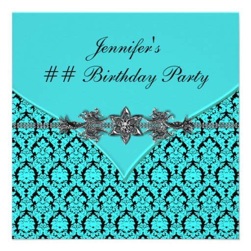 Teal Blue Black Damask Birthday Party Invites