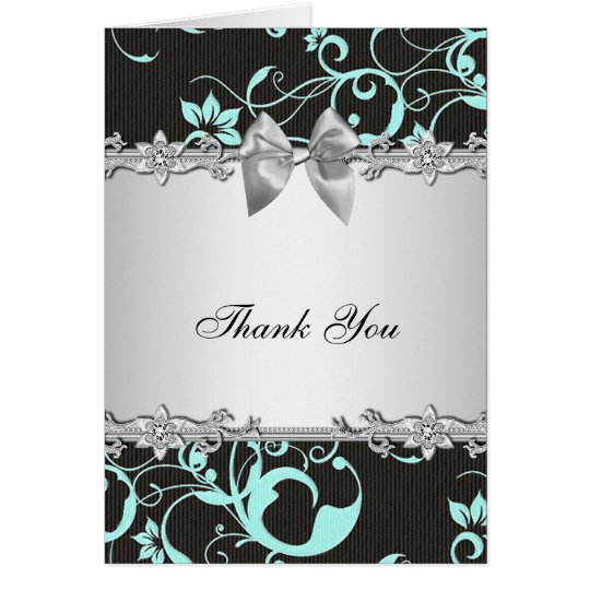Teal Blue Black Damask Silver Thank You Card