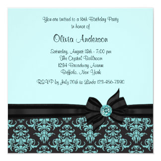 Teal Blue Black Damask Sweet 16 Party 13 Cm X 13 Cm Square Invitation Card