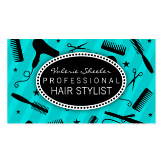 Teal Blue & Black Hair Salon Tools Pack Of Standard Business Cards