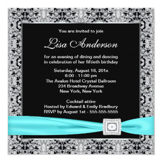 Teal Blue Black Lace Womans 50th Birthday Party 13 Cm X 13 Cm Square Invitation Card