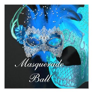 Teal Blue Black Masks Masquerade Ball Party 5.25x5.25 Square Paper Invitation Card