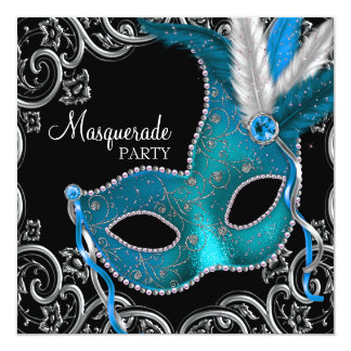 Teal Blue Black Masquerade Party 13 Cm X 13 Cm Square Invitation Card
