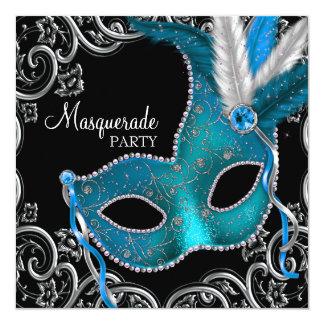 Teal Blue Black Masquerade Party 13 Cm X 13 Cm Square Invitation Card