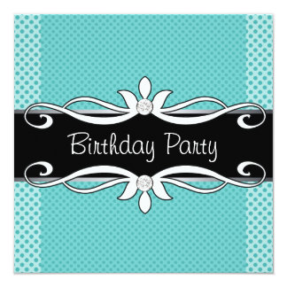 Teal Blue Black Polka Dot Womans Birthday Party Card