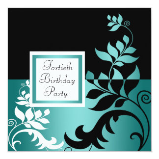 Teal Blue Black Womans 40th Birthday Party 13 Cm X 13 Cm Square Invitation Card