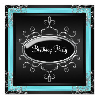 Teal Blue Black Womans Birthday Party Invites