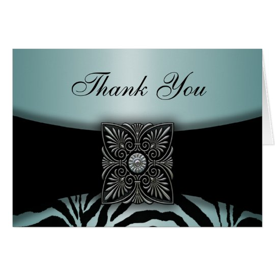 Teal Blue & Black Zebra Thank You Cards