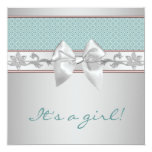 Teal Blue Bow Baby Girl Shower Invitations