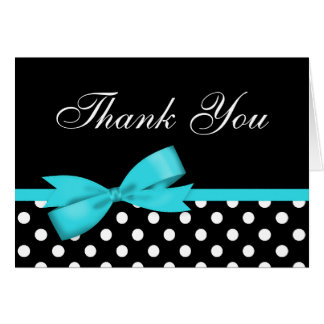 Teal Blue Bow Black Polka Dots Thank You Note Card