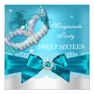 Teal Blue Bow Masquerade Sweet Sixteen Invite