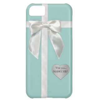 """Teal Blue bow """"Will you marry me"""" iphone 5s case iPhone 5C Case"""