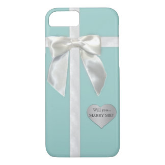 "Teal Blue bow ""Will you marry me"" iPhone 7 case"