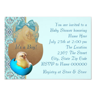 """Teal Blue Boys Baby Chick Shower Invitations 4.5"""" X 6.25"""" Invitation Card"""