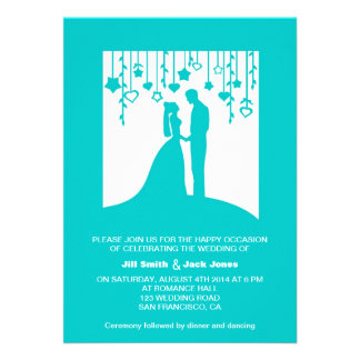 Teal blue bride and groom silhouette wedding card